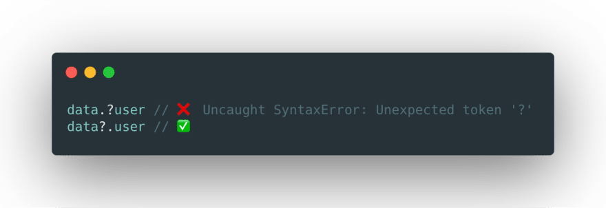 Order of the? matters otherwise you will get SyntaxError