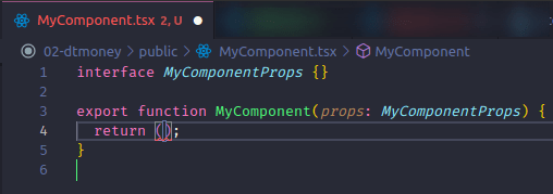 selecting react snippet