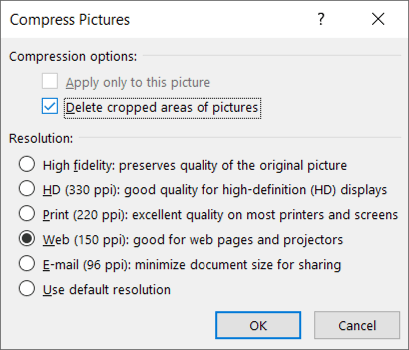 Save As Compress Pictures Dialog