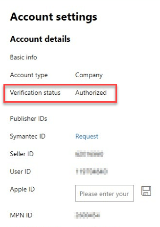 Developer Status Authorized