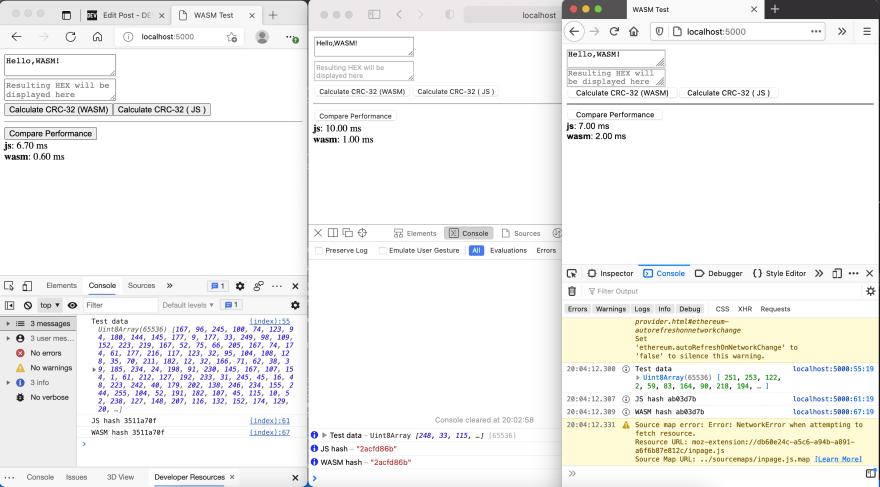Edge (js:6.70ms, wasm:0.60ms), Safari: (js: 10.00ms, wasm: 1.00ms) and Firefox (js: 7.00ms, 2.00ms)