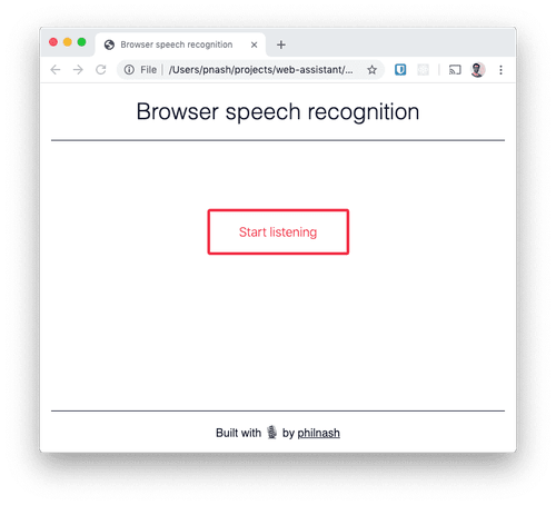 "A browser window with a heading saying ""Browser speech recognition"" and a button ready to ""start listening""."