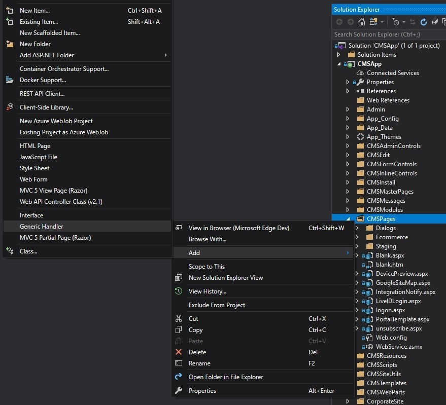Visual Studio Project UI context menu for adding a Generic Handler