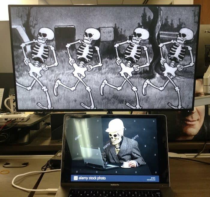 Screens depicting skeletons?