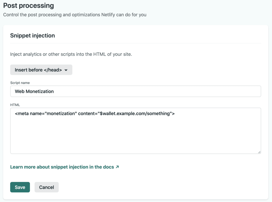 Snippet injection panel with monetization meta tag
