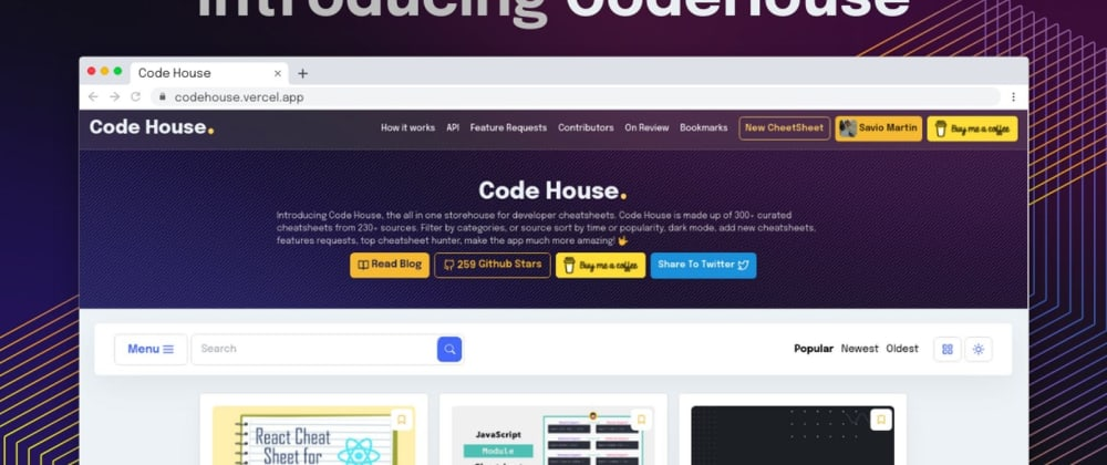 Cover Image for Introducing Code House - A whole new world of 300+ Developer Cheatsheets 👨💻
