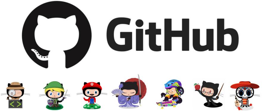 GitHub logo and several GitHub cartoon character drawings