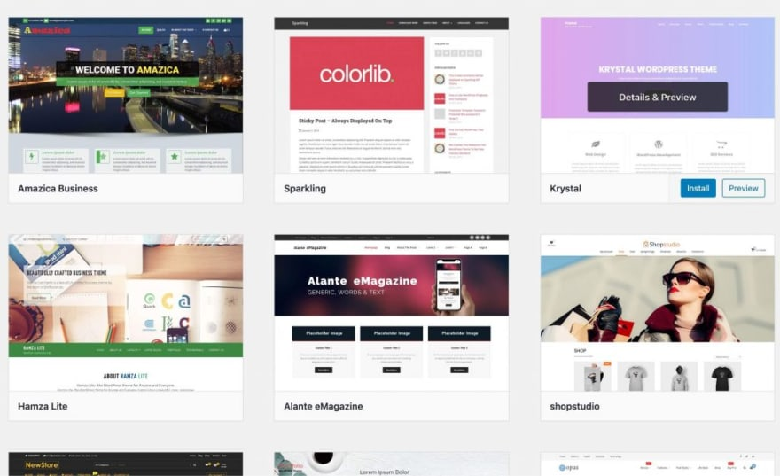Various wordpress themes ready for installation