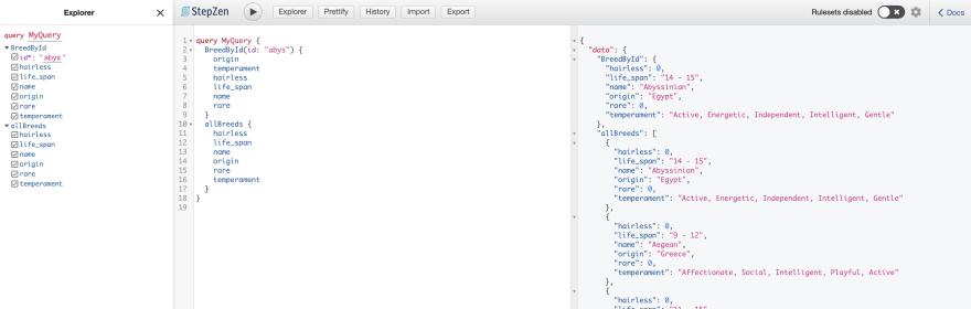json results screenshot