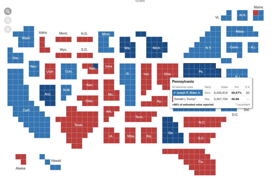 The New York Times' election map. The electoral college view is shown, where each state is made out of the same amount of circles as it has electoral college votes