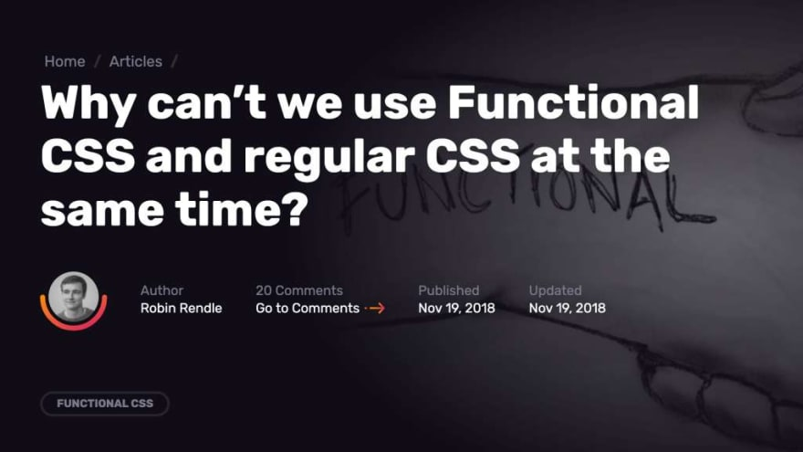 Screenshot of a CSS Tricks article about using functional CSS alongside traditional CSS.