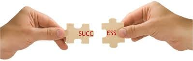 An image showing two hands each holding a piece of a puzzle that fit together. When the pieces fit we can read the word success.