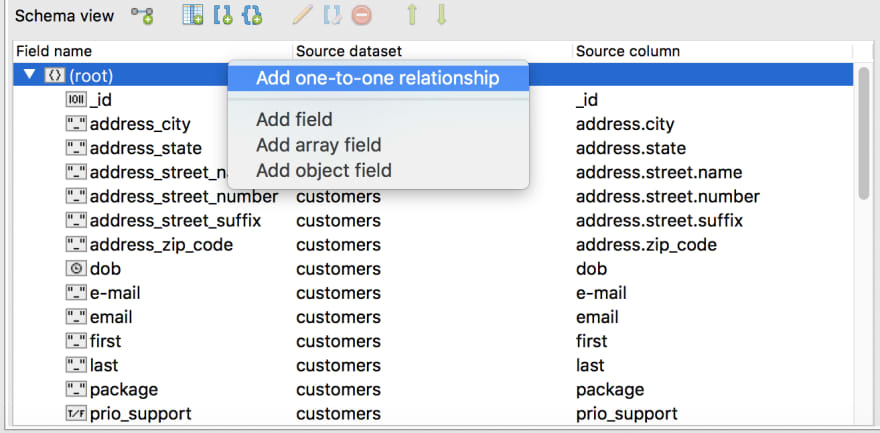 Right click on root to add a one-to-one relationship