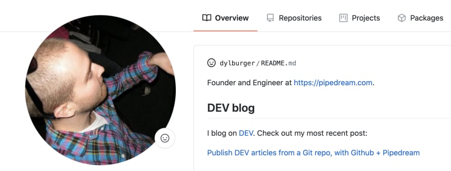 DEV post on profile