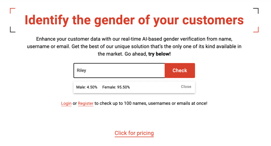 Search field of Genderify's website showing we searched for the name Riley. The results show two percentages: 4% likely to be male, 96% likely to be female