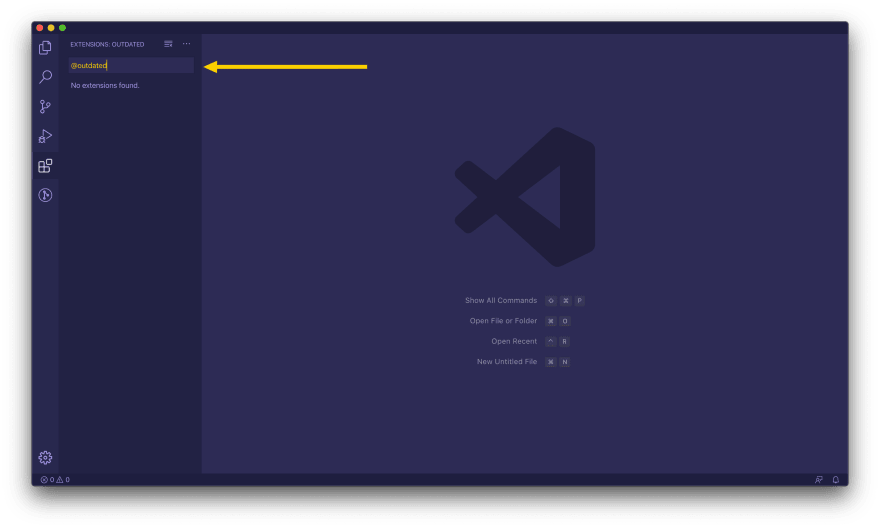 VSCode outdated extensions