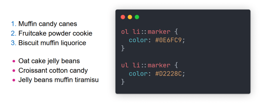 Code snippet with preview of ordered and unordered lists with colored markers.