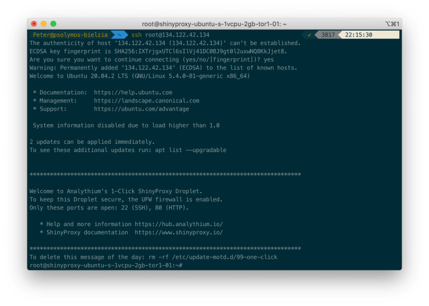 Message of the day after log in through SSH