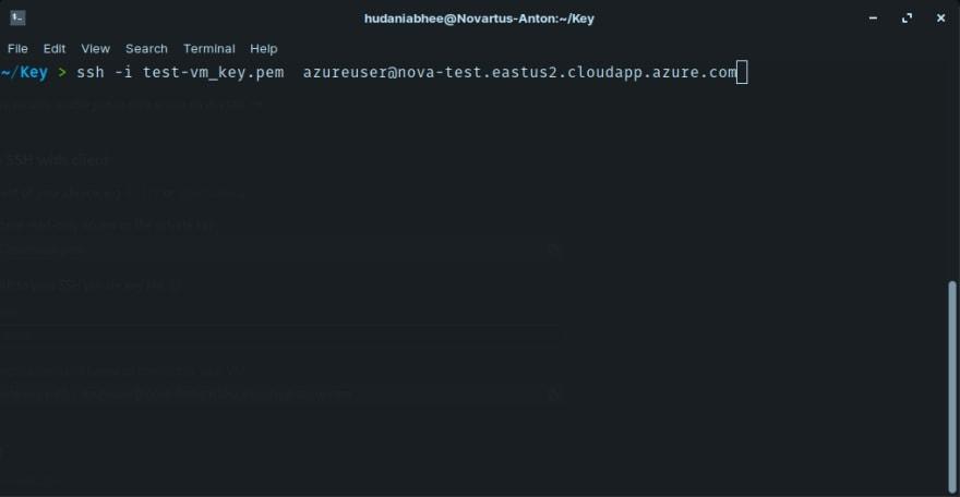 Azure VM SSH Key