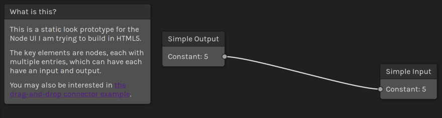 A screenshot of the nodes UI example showing a two-node graph