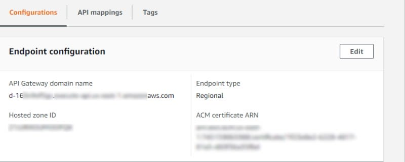 Details about the custom domain we created in API Gateway