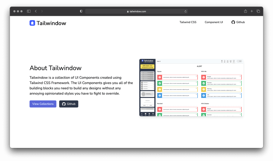 Screenshot of Tailwindow website
