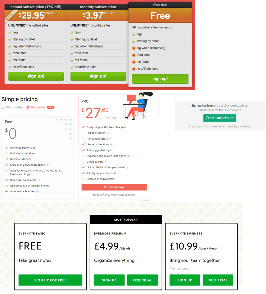 Picture displaying pricing plans for tools