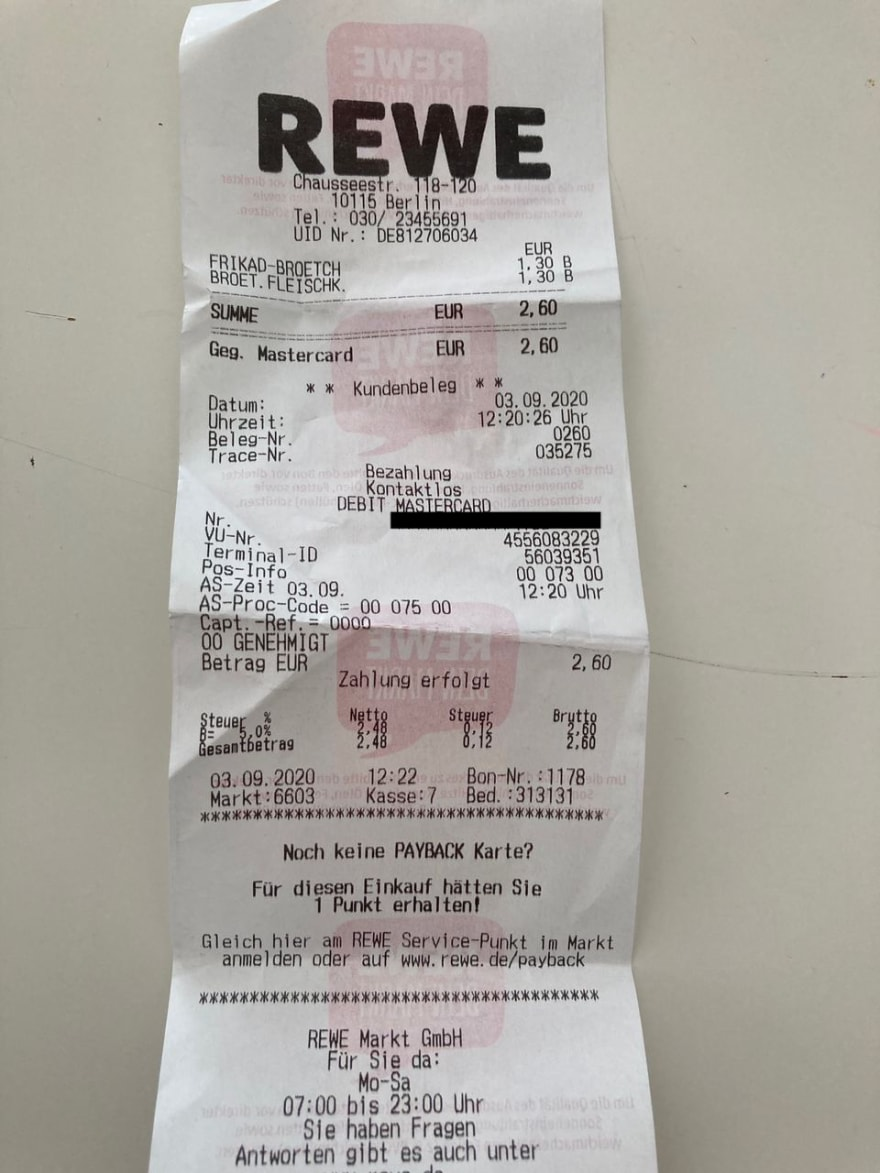 Image of a receipt