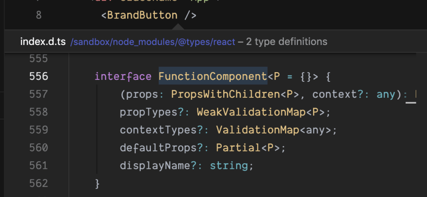 screenshot of typescript code for function component