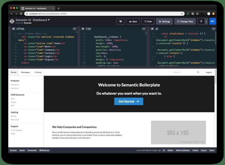 Screenshot of my SUI dashboard template in CodePen