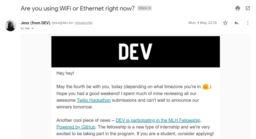 "DEV newsletter: ""Are you using WiFi or Ethernet right now?"""