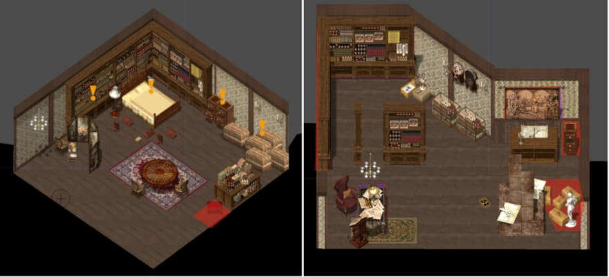 LEFT: Enoch's room RIGHT: Father's Room