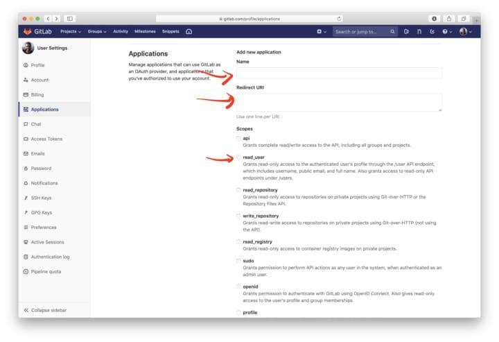 Gitlab add application