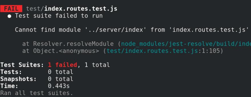 Jest API testing fail