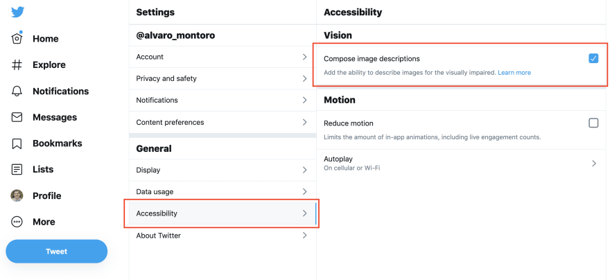 Twitter Accessibility configuration with highlights