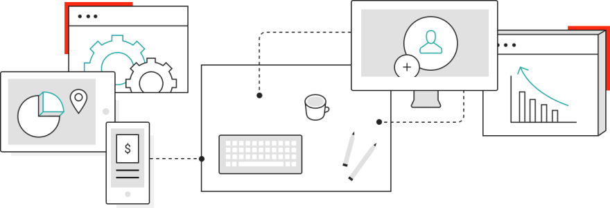 Diagram indicating work from multiple channels coming to a desk