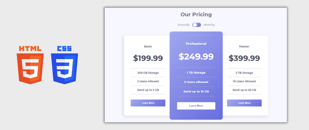 Cover image for Day 12/30 : Responsive Pricing Card tables using HTML and CSS