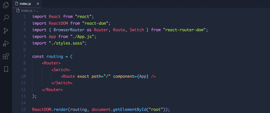 React code snippet with the Electron theme