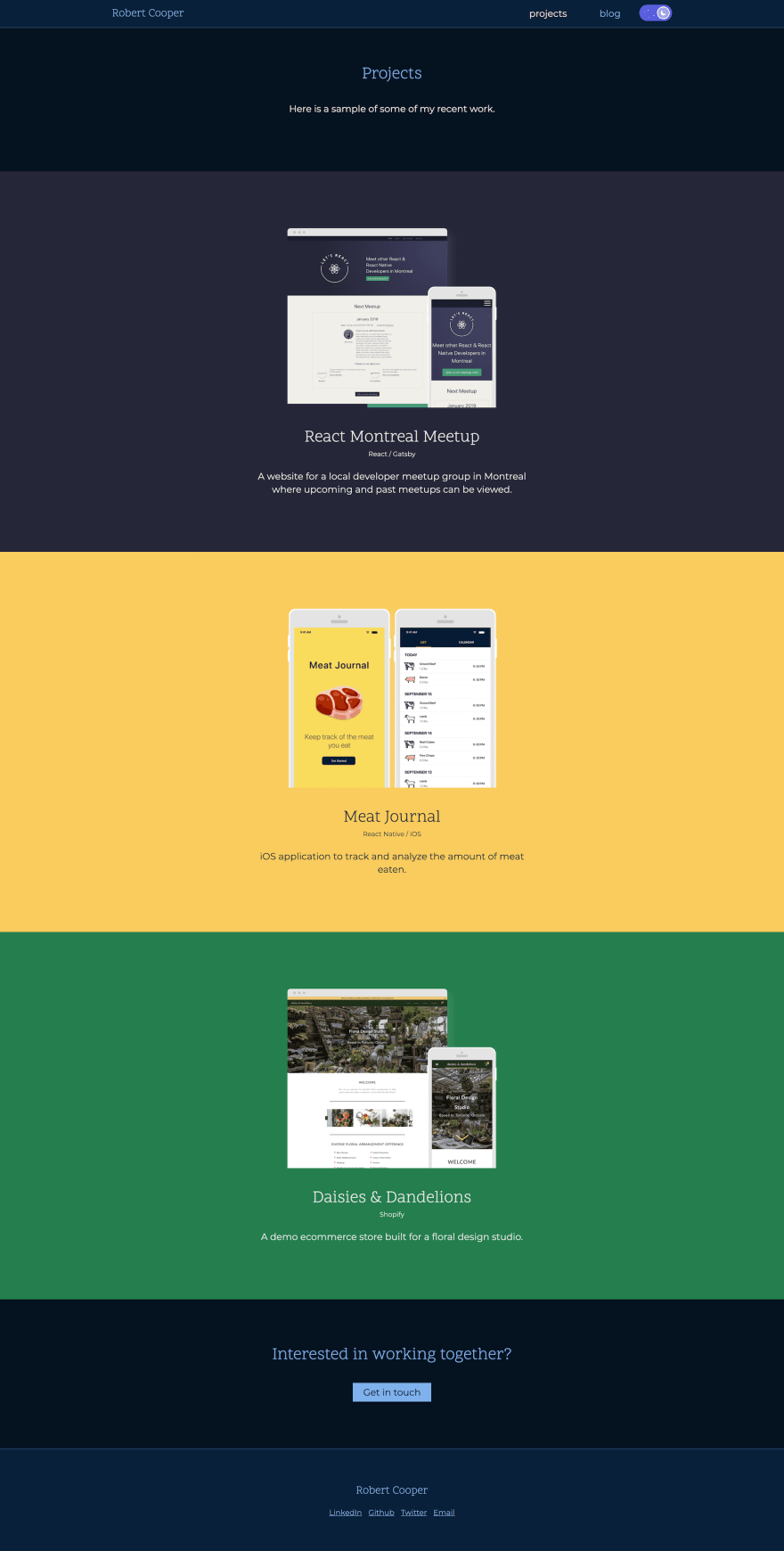 The new projects page of the website showing projects for the React Montreal Meetup group, the Meat Journal mobile app, and an ecommerce Shopify theme called Daisies and Dandelions.