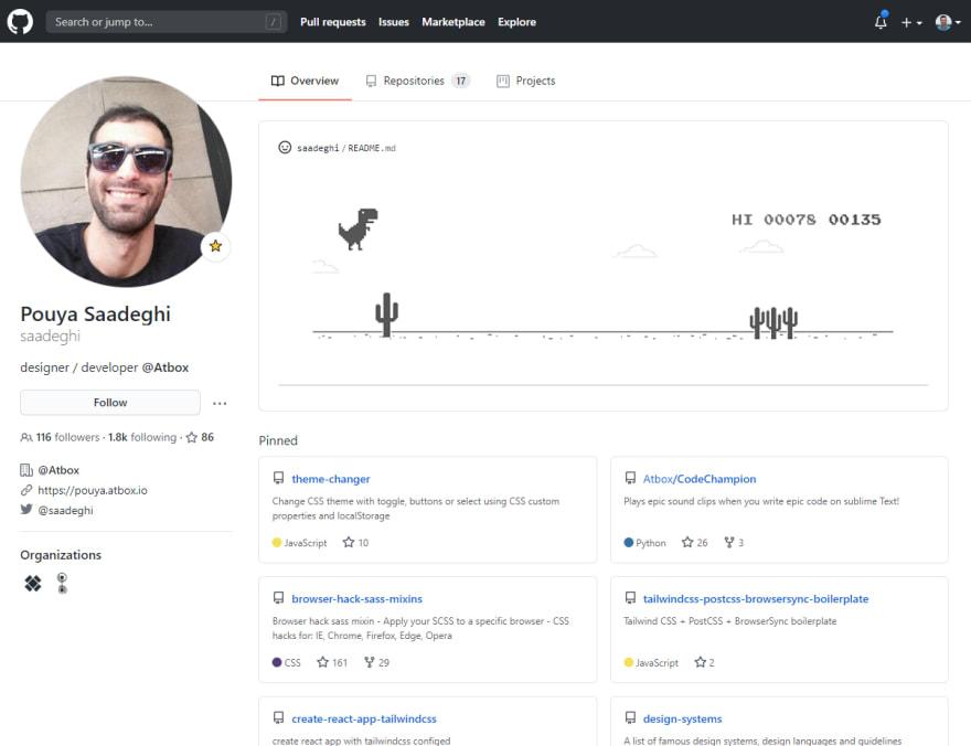 GitHub Profile Screenshot of Pouya Saadeghi