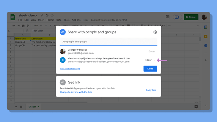 Giving the service email editor privileges in the Google Sheet