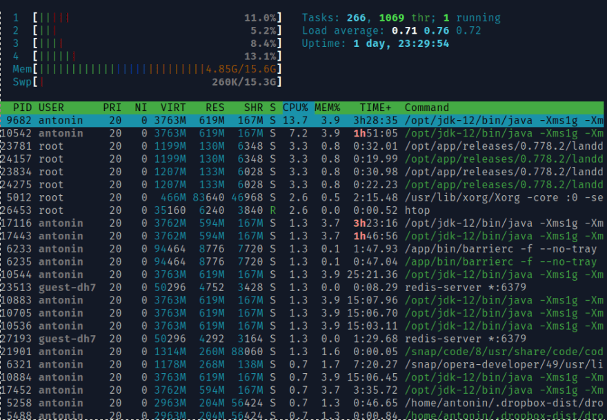 htop process viewer screenshot
