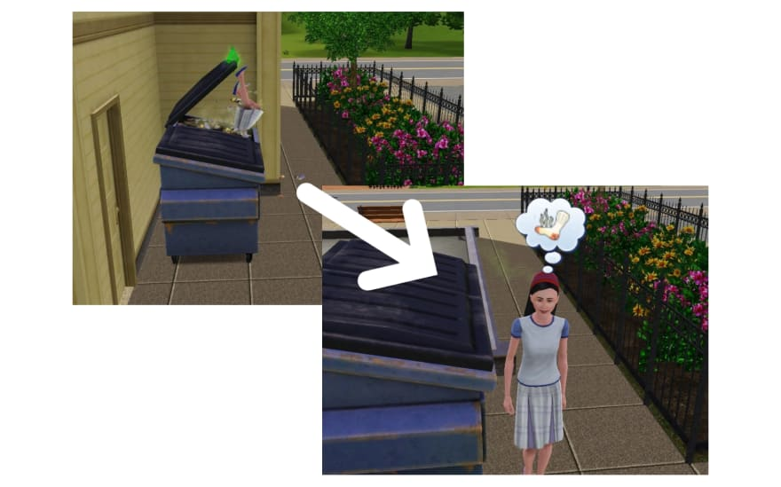 A Sim rummages through a rubbish tip and then gets out to think about stinky socks