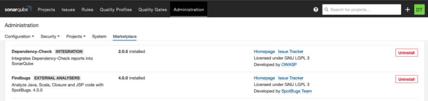 SonarQube configuration of the Dependency Check plugin