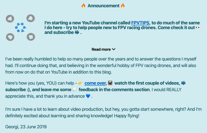 Announcing the FPVTIPS YouTube channel