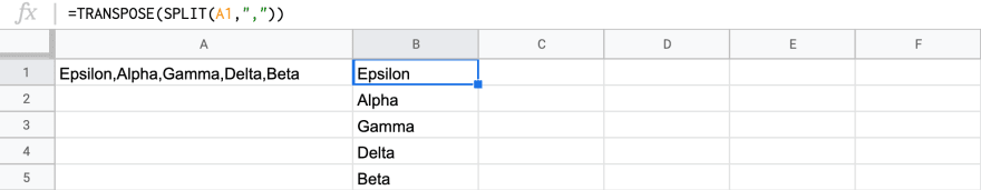 a spreadsheet with a transpose function, which displays the result of a split function in a column instead of its default row format.