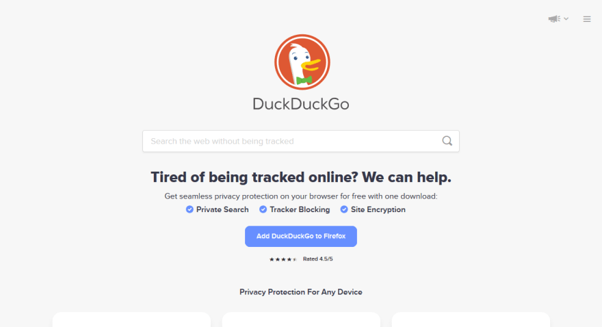 DuckDuckGo with JavaScript enabled
