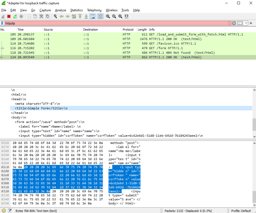 wireshark trace of response to fetch request