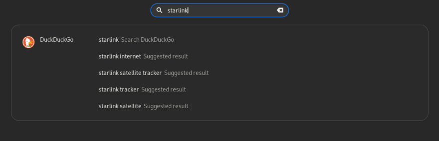 Screenshot of the DuckDuckGo Search Provider extension<br>