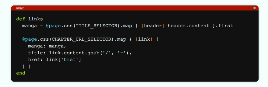 Another example of a styled code snippet, this time with Ruby code.